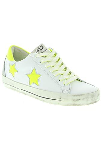 quattrobarradodici chaussures femme de couleur blanc