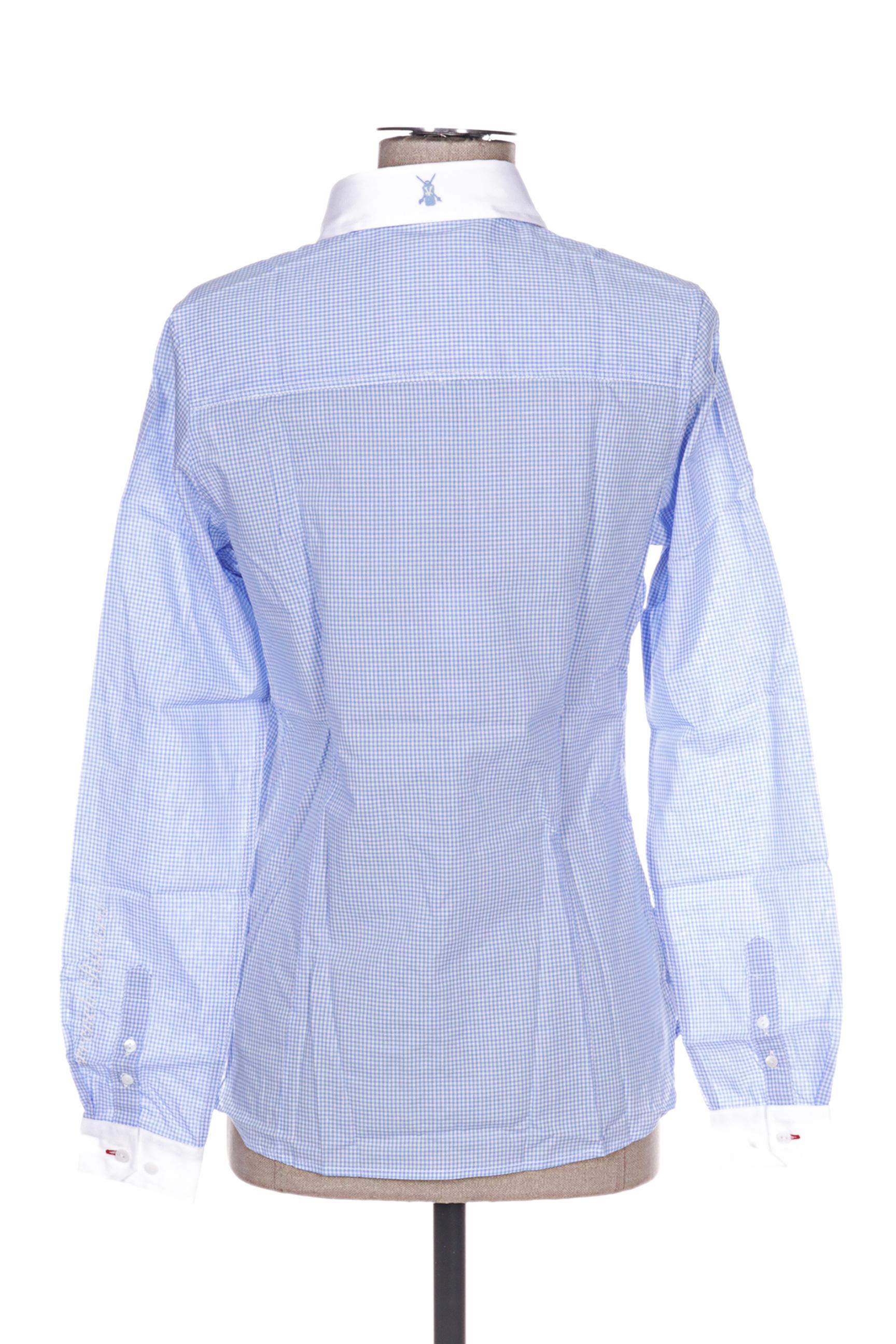 Vestiaires Principaute Cannoise Chemisiers Manches Longues Femme De Couleur Bleu En Soldes Pas Cher 1270129-bleu00