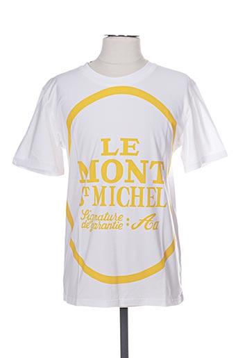 T-shirt manches courtes blanc LE MONT ST MICHEL POUR LE PRINTEMPS pour homme