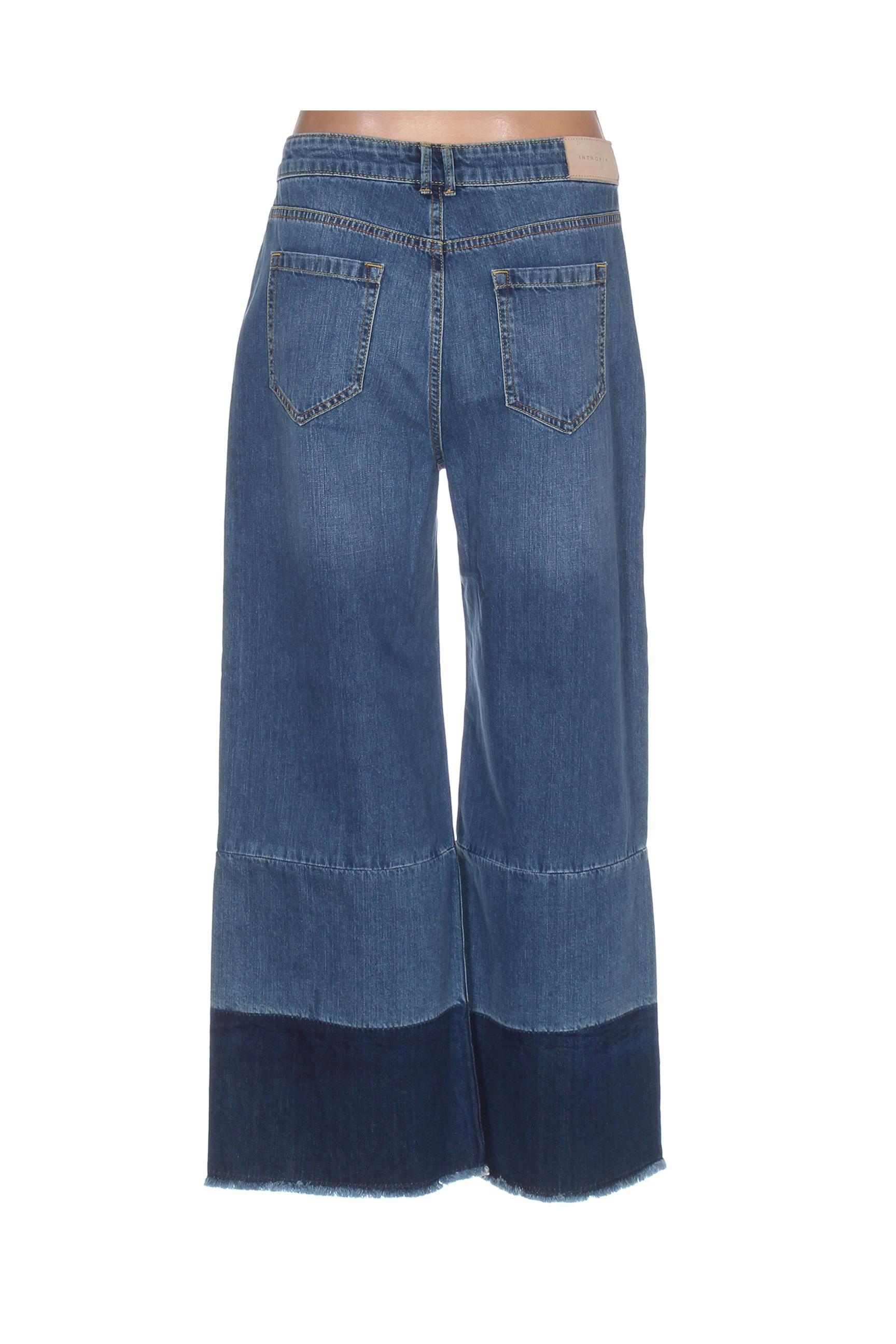 Intropia Pantalons Decontractes Femme De Couleur Bleu En Soldes Pas Cher 1270660-bleu00
