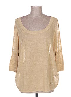 Pull col rond beige FINE COLLECTION pour femme