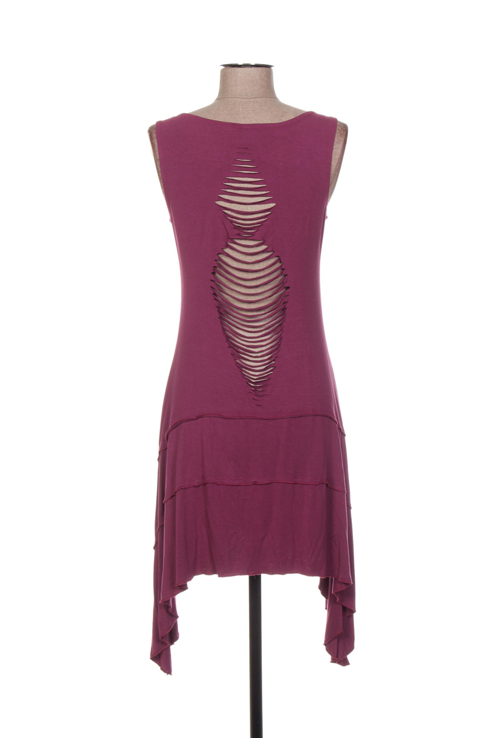 Dipawali Robes Courtes Femme De Couleur Violet En Soldes Pas Cher 1273693-violet