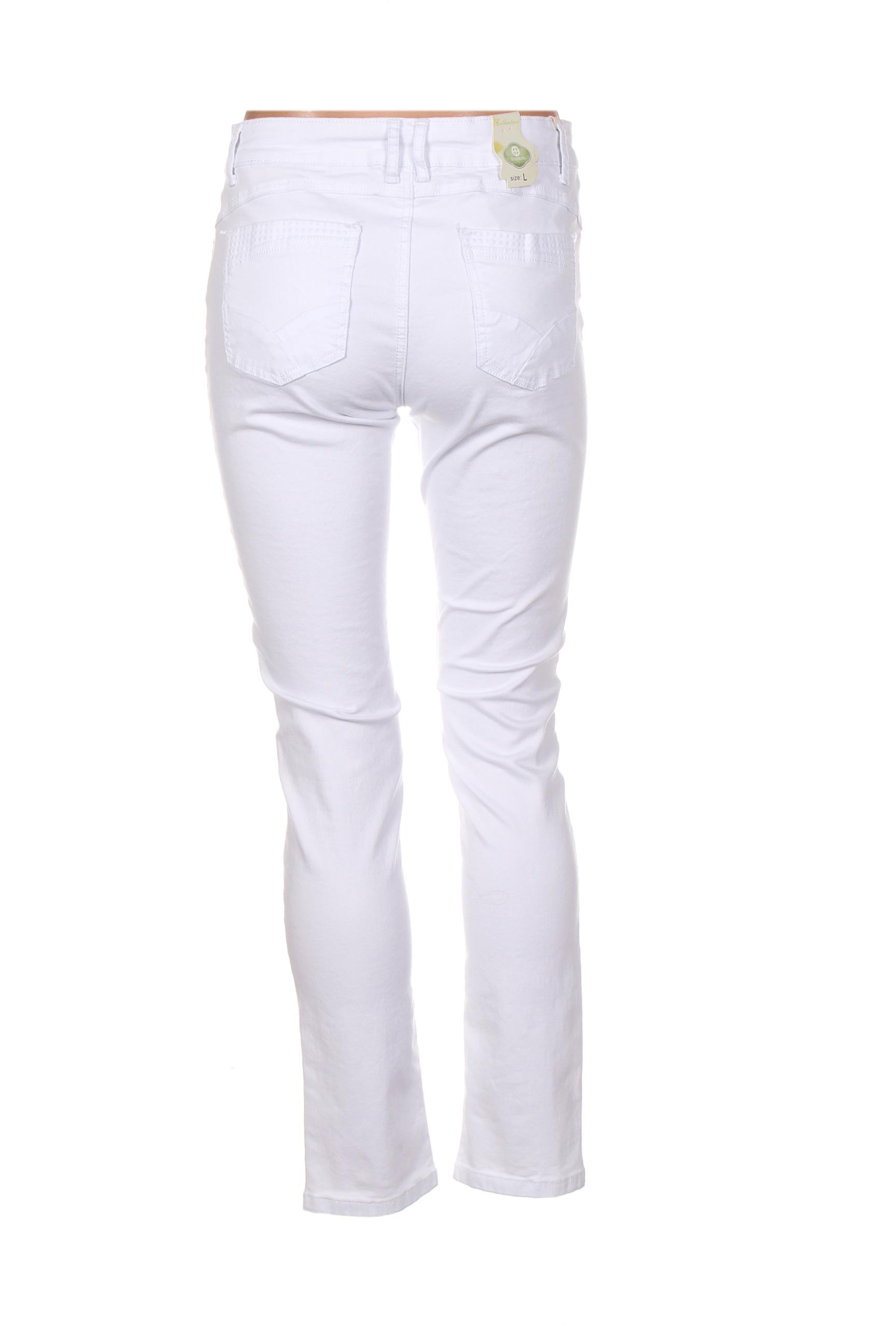 Onado Jeans Coupe Slim Femme De Couleur Blanc En Soldes Pas Cher 1275220-blanc0