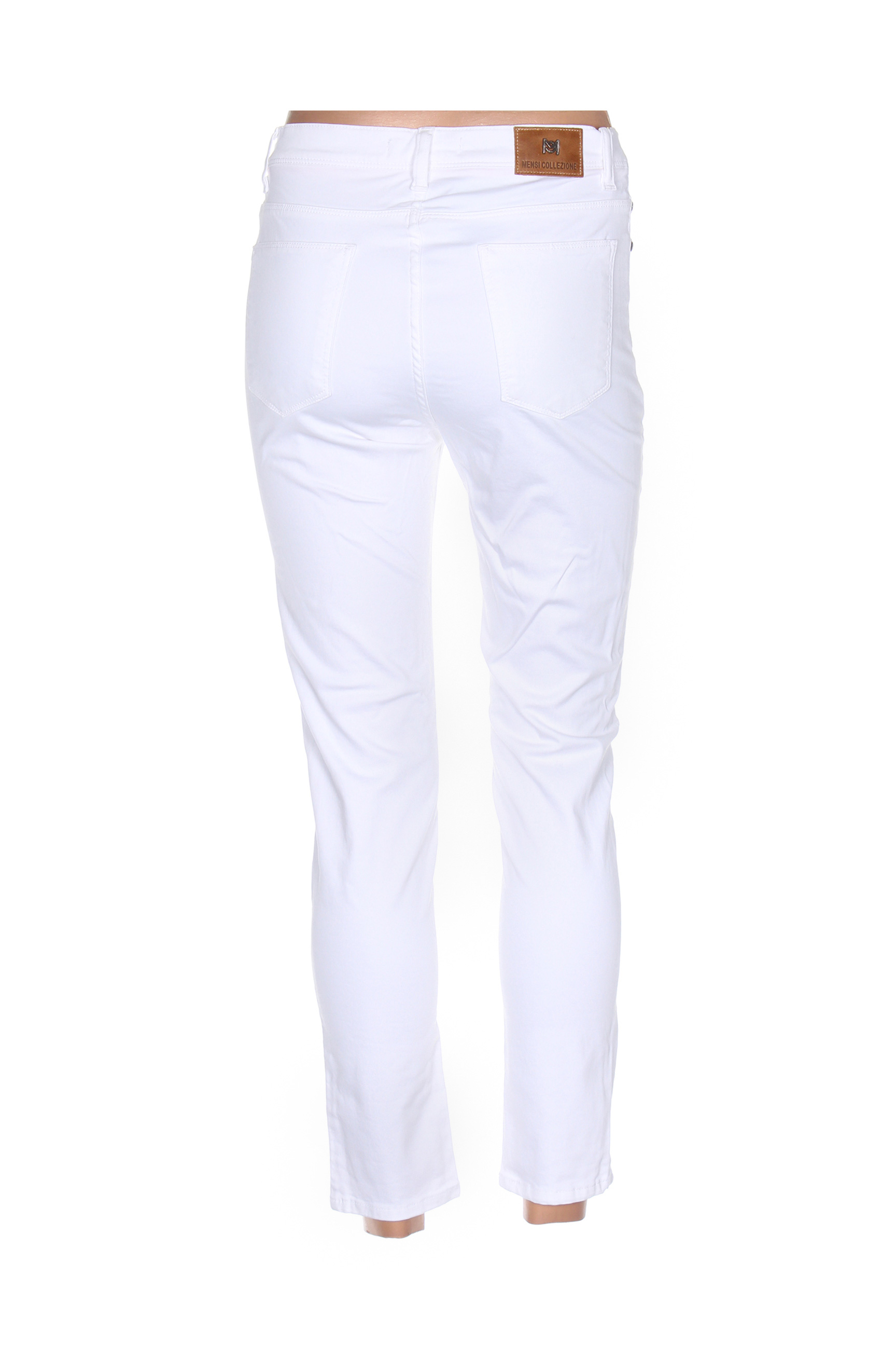 Mensi Collezione Pantalons Decontractes Femme De Couleur Blanc En Soldes Pas Cher 1284247-blanc0