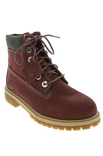timberland chaussures garçon de couleur rouge