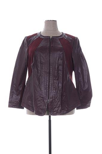 Veste en cuir rouge EMILIA LAY pour femme