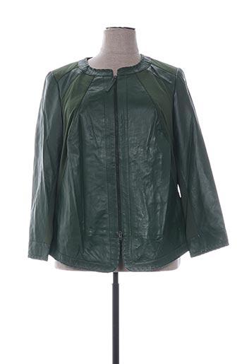 Veste en cuir vert EMILIA LAY pour femme