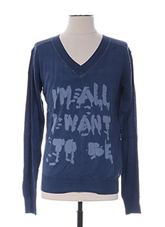 Pull col V bleu GALLIANO pour homme