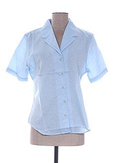 Chemisier manches courtes bleu FRANK ALEXANDRE pour femme