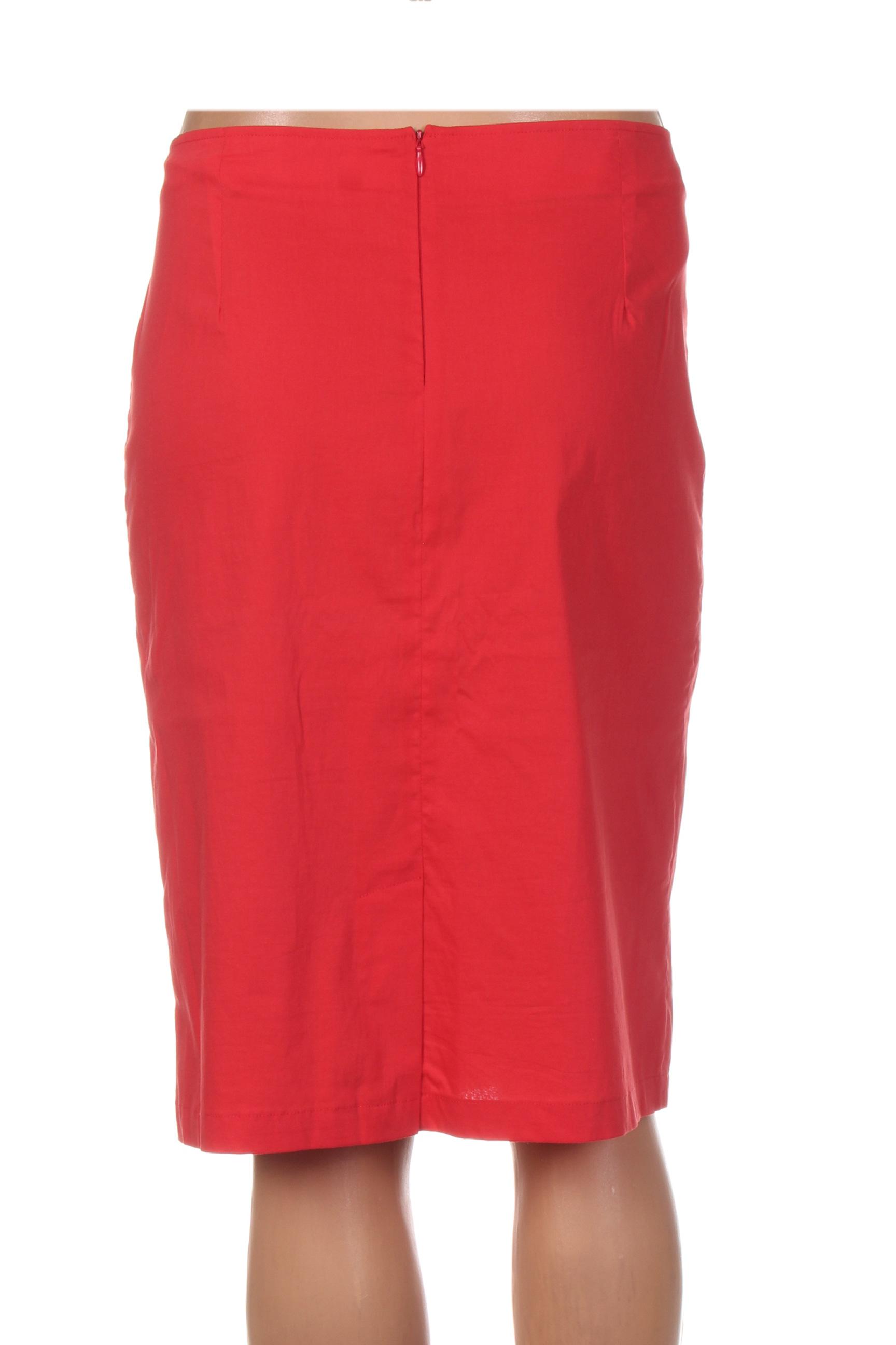 Quattro Jupes Mi Longues Femme De Couleur Rouge En Soldes Pas Cher 1294078-rouge0