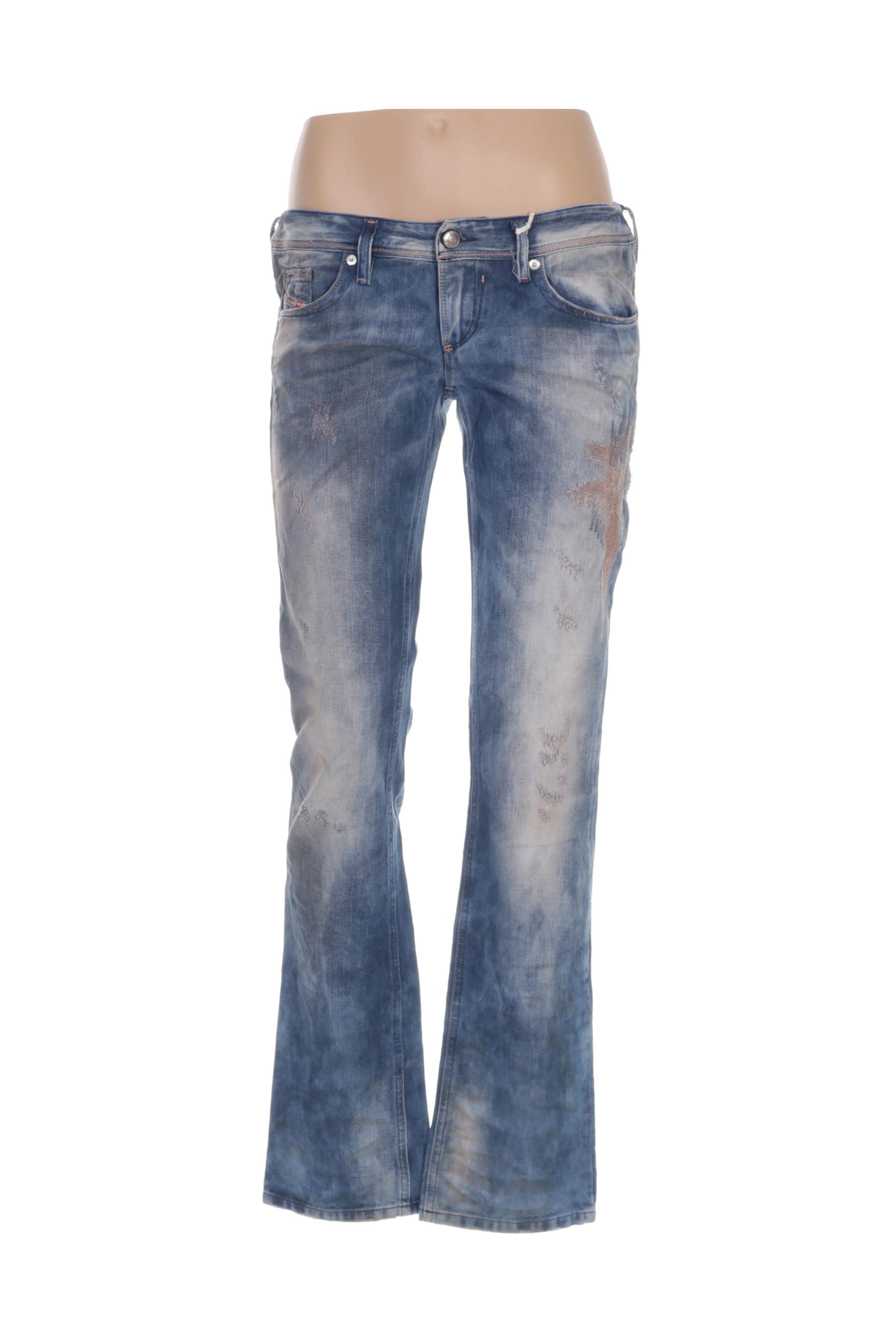 Diesel Jeans Coupe Droite Femme De Couleur Bleu En Soldes Pas Cher 1284430-bleu00 - Modz