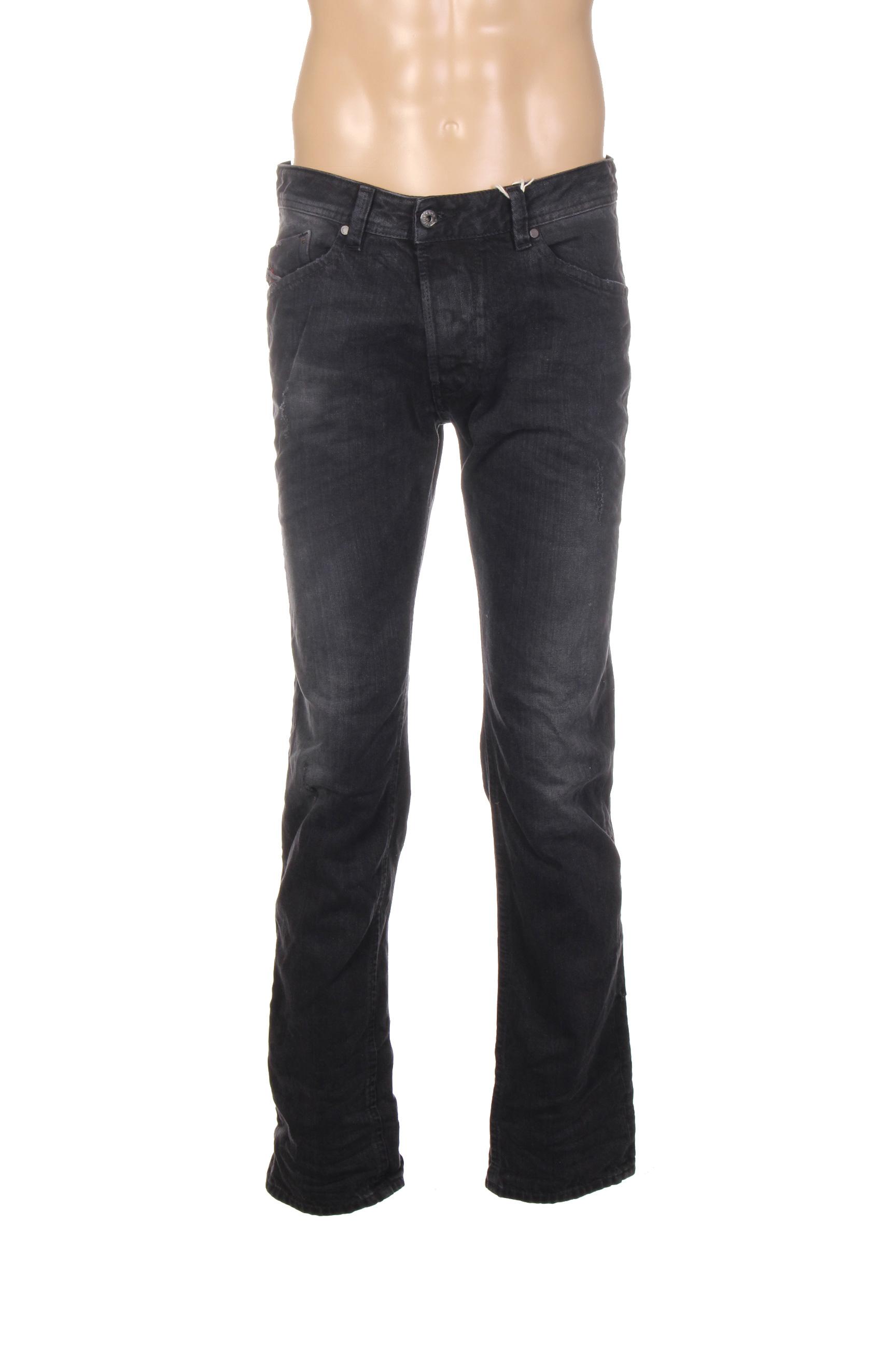 diesel jeans coupe droite homme de couleur noir en soldes. Black Bedroom Furniture Sets. Home Design Ideas