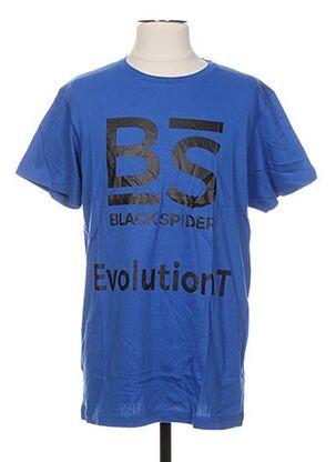 T-shirt manches courtes bleu BLACK SPIDER pour homme