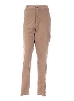 Pantalon casual beige BRIGITTE SAGET pour femme