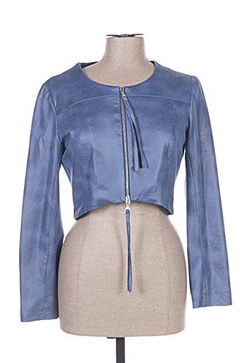 Veste simili cuir bleu VOODOO pour femme