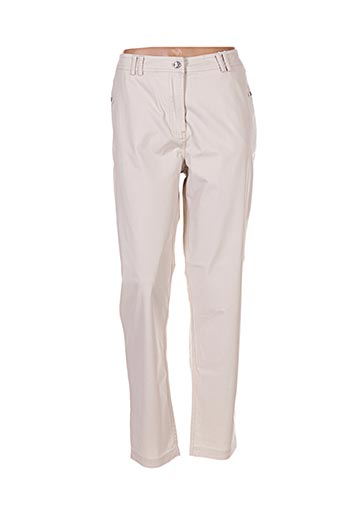 Pantalon casual beige EL INTERNATIONALE pour femme