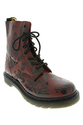dr martens chaussures femme de couleur rouge