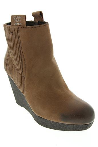 calvin klein chaussures femme de couleur marron