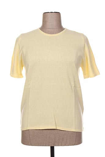 Pull col rond jaune FIL & MAILLE pour femme