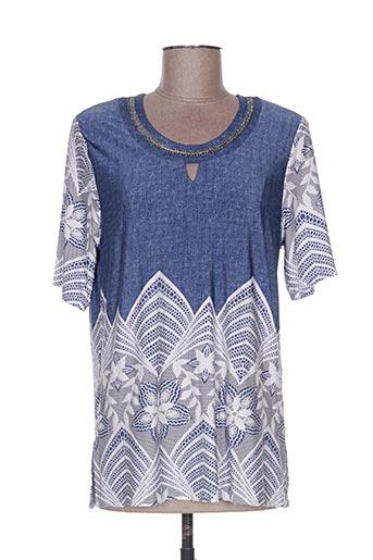T-shirt manches courtes bleu BZA pour femme