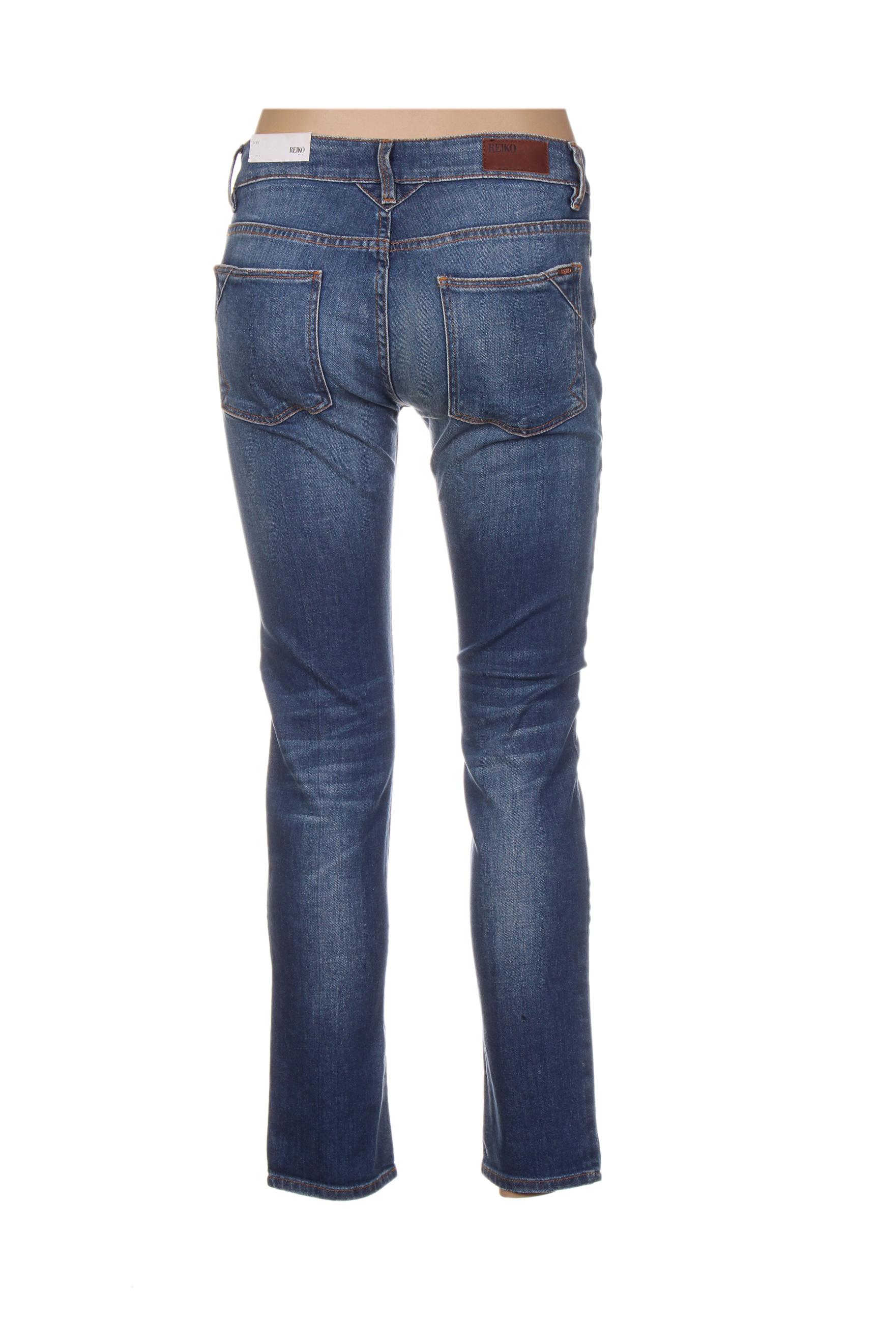 Reiko Jeans Coupe Slim Femme De Couleur Bleu En Soldes Pas Cher 1318402-bleu00