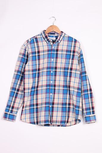 Chemise manches longues bleu BERSHKA pour homme