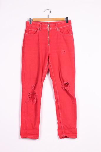 Jeans skinny rouge BERSHKA pour femme