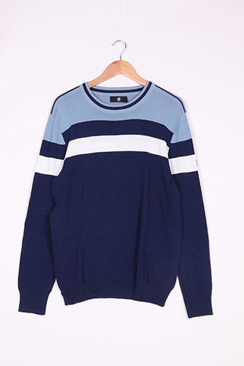 Pull col rond bleu G STAR pour homme