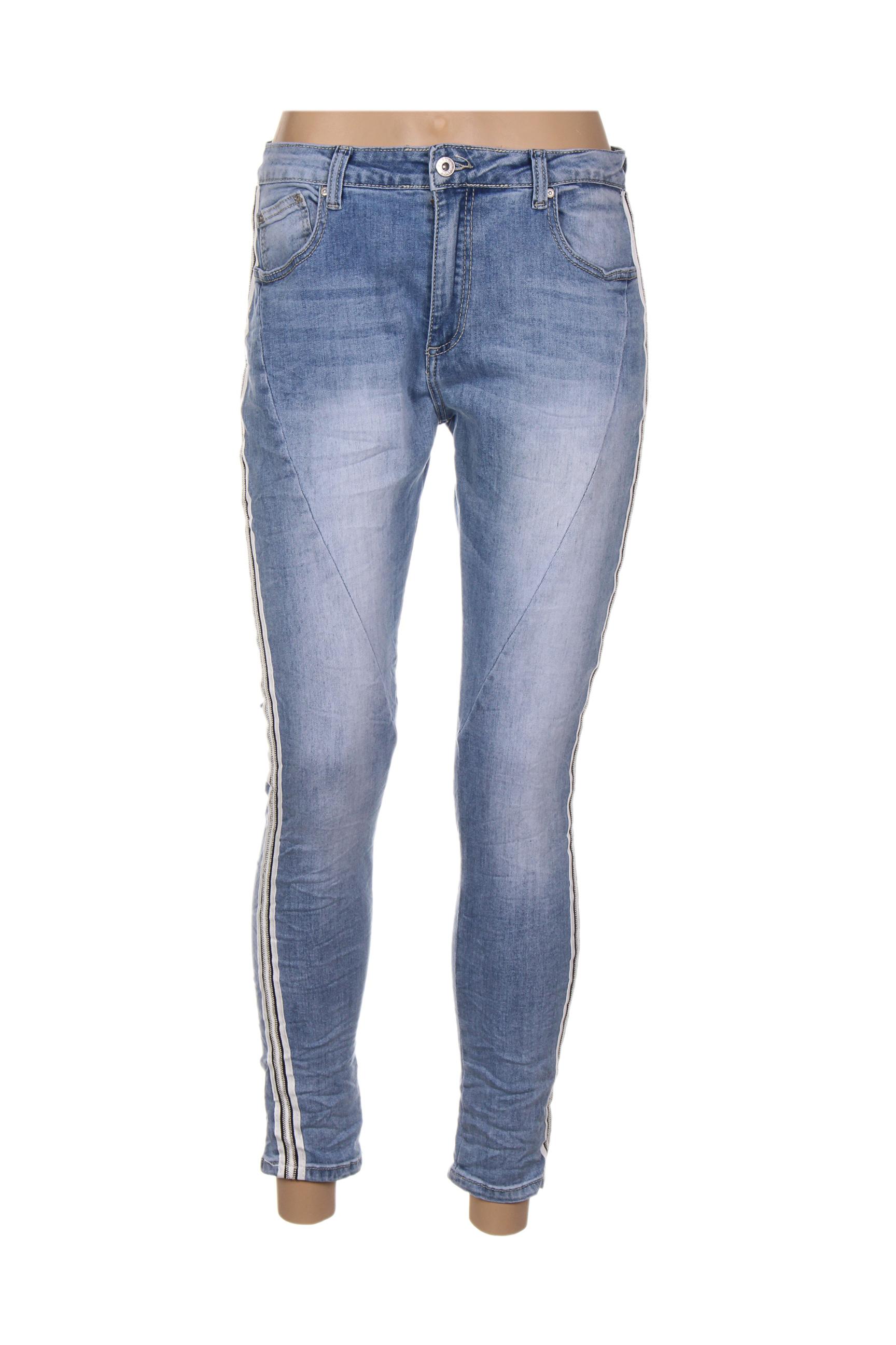 place du jour jeans coupe slim femme de couleur bleu en soldes pas cher 1326490 bleu00 modz
