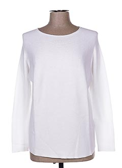 Pull col rond blanc CRAZY WOOL pour femme