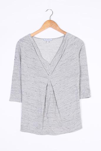 T-shirt manches longues gris ENVIE DE FRAISE pour femme