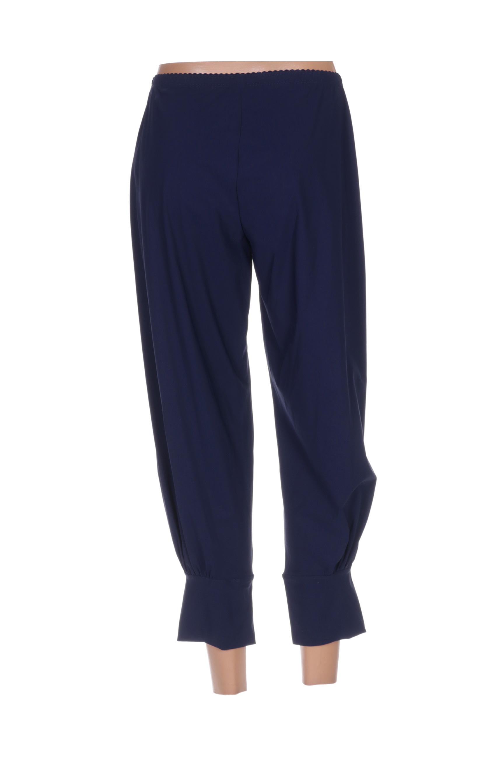 3322 Pantalons Decontractes Femme De Couleur Bleu En Soldes Pas Cher 1364314-bleu00