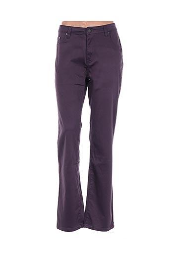Pantalon casual violet CLAUDE DE SAIVRE pour femme