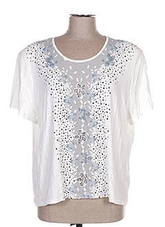 T-shirt manches courtes blanc BLUE MONDE pour femme