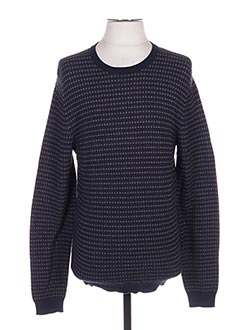 Pull col rond bleu HUGO BOSS pour homme