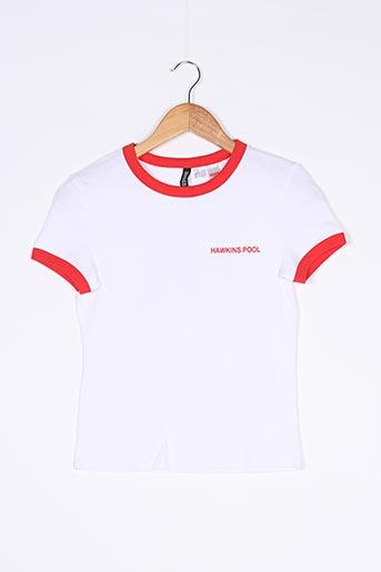 T-shirt manches courtes blanc DIVIDED H&M pour femme