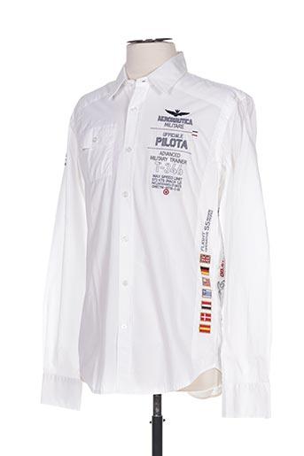 Chemise manches longues blanc AERONAUTICA pour homme