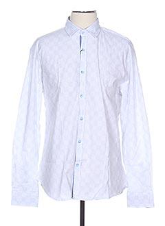 Chemise manches longues bleu MONTE CARLO pour homme