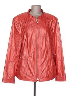Veste simili cuir orange BIANCA pour femme