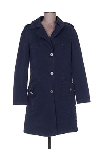Manteau long bleu BENETTON pour femme