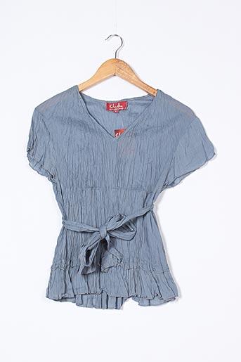 Blouse manches courtes bleu CHADIA pour femme