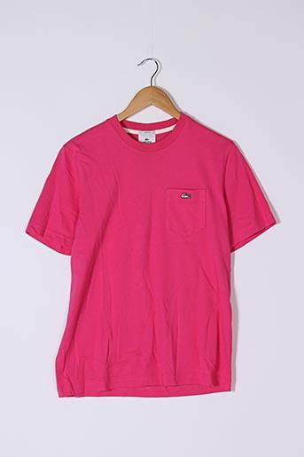 T-shirt manches courtes rose LACOSTE pour femme