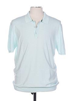 Polo manches courtes bleu TRUSSARDI JEANS pour homme