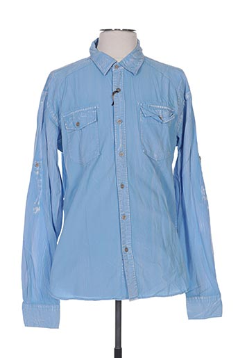 Chemise manches longues bleu INDIKIDUAL pour homme