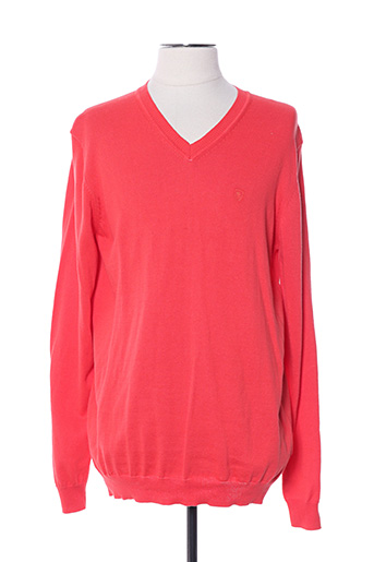 Pull col V rouge CAMBRIDGE pour homme