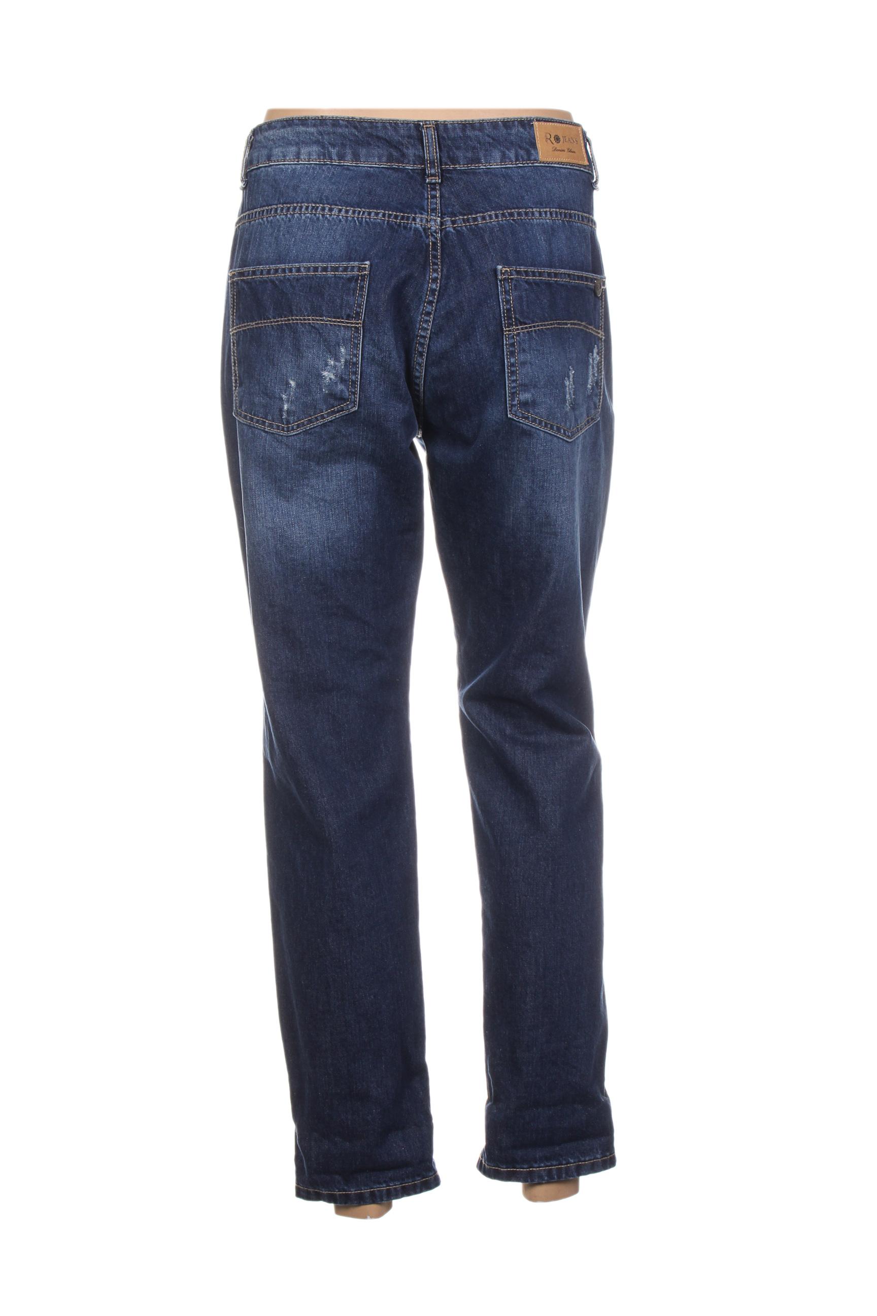 Rinascimento Jeans Coupe Droite Femme De Couleur Bleu En Soldes Pas Cher 1411006-bleu00
