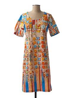 Robe mi-longue orange AVENTURES DES TOILES pour femme