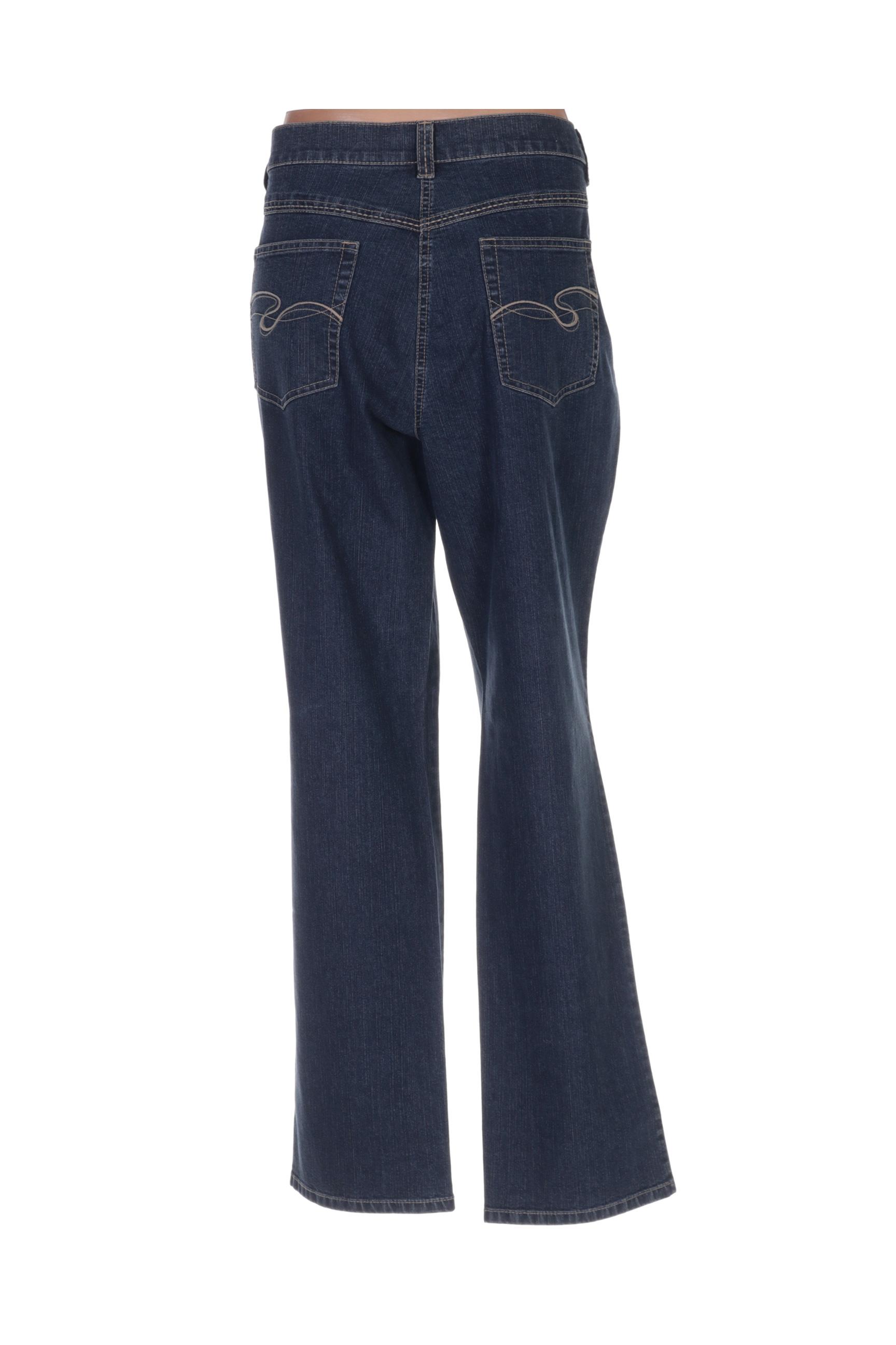 Lebek Jeans Coupe Droite Femme De Couleur Bleu En Soldes Pas Cher 1410289-bleu00
