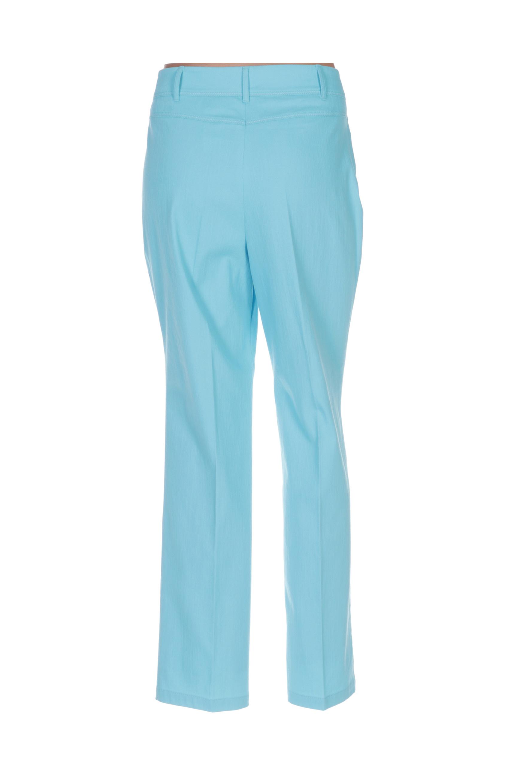 Lebek Pantalons Decontractes Femme De Couleur Bleu En Soldes Pas Cher 1410400-bleu00