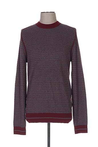 Pull col rond rouge HUGO BOSS pour homme